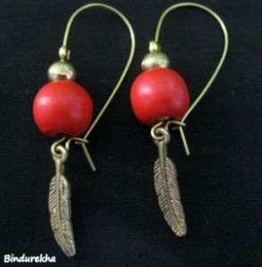 2936-30161-1417546529283-Bindu-Rekha-Red-Wooden-Beads-Small-Metal-Leaf-Earrings